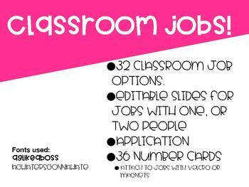 Classroom Job Signs Neon EDITABLE
