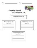 Classroom Job Speech Organizer
