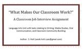 Classroom Job Unit