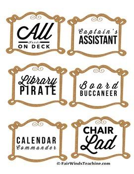 Classroom Job name tags (Pirate Theme)