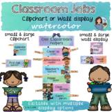 Classroom Jobs in Watercolor EDITABLE