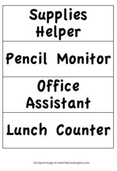 Classroom Jobs - Kids