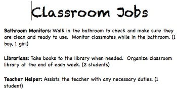**EDITABLE** Classroom Jobs