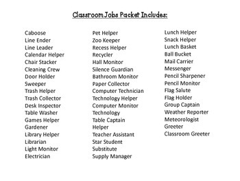 Classroom Jobs - Chevron