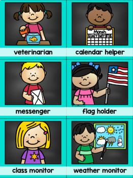 Classroom Jobs Clip Chat {Teal and Chalkboard Classroom Decor Theme}