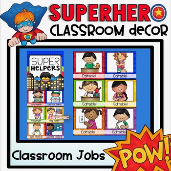 Classroom Jobs Chart {Superhero Classroom Decor Theme}