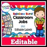 Editable Job Chart | Class Jobs Editable | Job Chart | Rainbow Burst