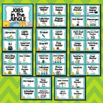 Jungle Theme Classroom Jobs
