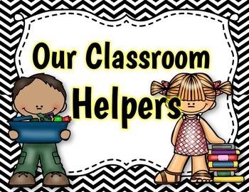 Classroom Jobs - {EDITABLE Black and White  Chevron Themed}