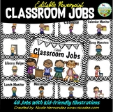 Classroom Jobs Editable with Pictures {Black and White Chevron Themed}