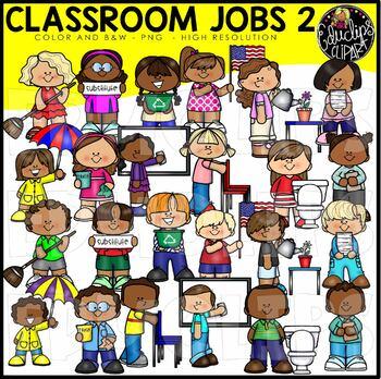 Classroom Jobs 2 Clip Art Bundle {Educlips Clipart}