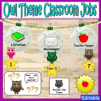 Owl Theme Classroom Jobs