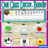 Owl Theme Labels Classroom Decor