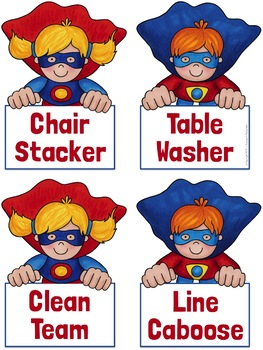 Classroom Jobs Chart Superhero Theme