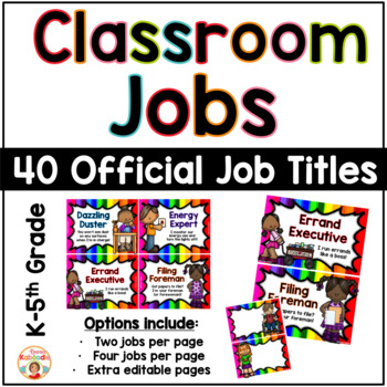 Classroom Jobs - Bright Rainbow Theme
