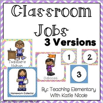 Three Bright and Colorful Classroom Job Displays