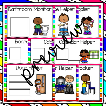 Classroom Jobs with Student Pictures