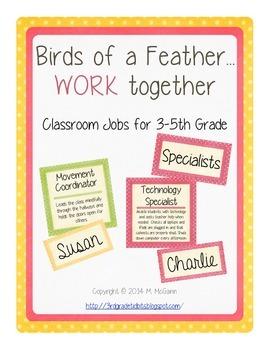Classroom Jobs - 3rd, 4th, 5th