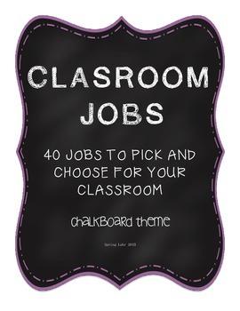 Classroom Jobs - 40 Titles - Chalkboard Theme
