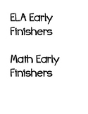 Early Finishers Basket Labels