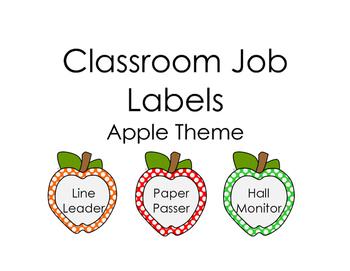 Classroom Jobs- Apple Theme