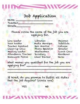 Classroom Jobs Application