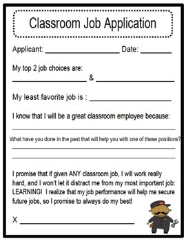 Classroom Jobs Application and Poster