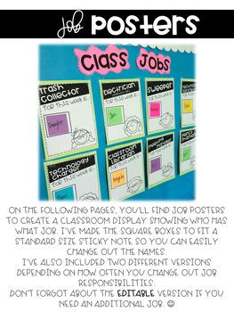 Classroom Jobs: Applications and Display Printables