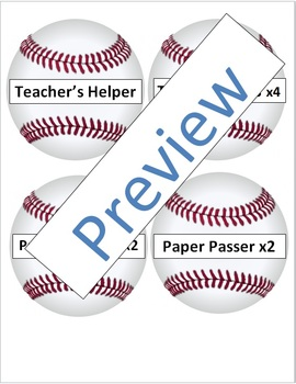 Classroom Jobs Baseball Theme