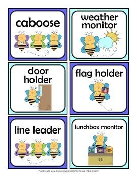 Classroom Jobs: Bees
