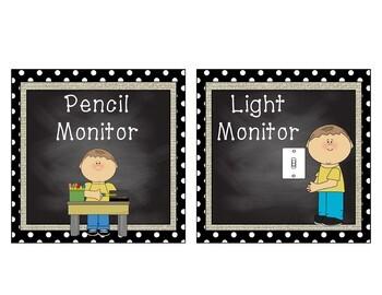 Classroom Jobs - Black - White Polka Dot Burlap Chalkboard decor - Boys & Girls