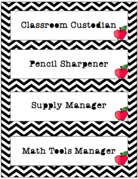 Classroom Jobs | Black and White