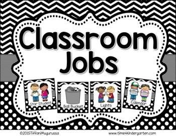 Classroom Jobs Black and White Dots and Chevron