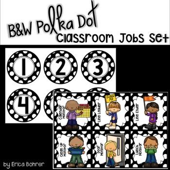Classroom Jobs: Black and White Polka Dot