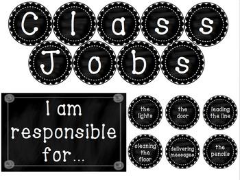 Classroom Jobs - Black and white chalkboard theme