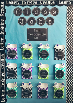 Classroom Jobs - Black and white chalkboard theme