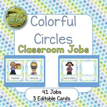 Classroom Jobs Blue Green Bubbles