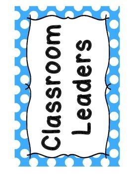 Classroom Jobs - Blue Polka Dot Theme