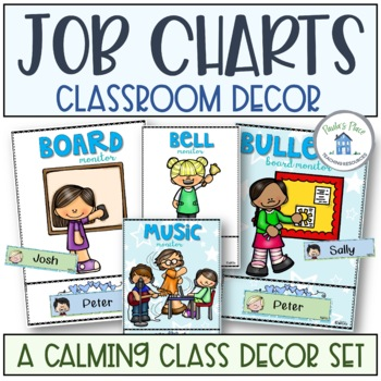 Classroom Jobs Blue and Green Theme