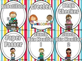 Classroom Jobs (Bright Circus Theme)