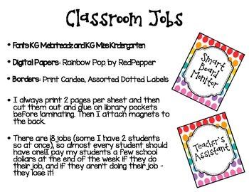 Classroom Jobs - Bright Polka Dots