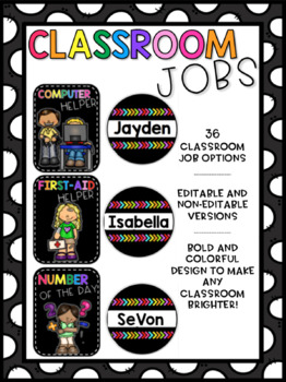 Classroom Jobs - Bright and Black