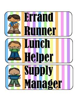 Classroom Jobs Bulletin Board Pastel Stripes