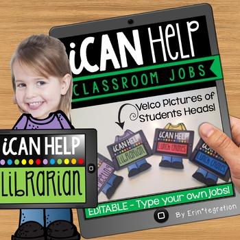 Classroom Jobs Bulletin Board Set EDITABLE: iPad theme