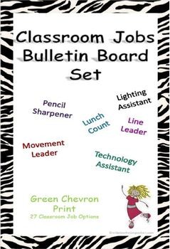Classroom Jobs Bulletin Board Set - Green Chevron