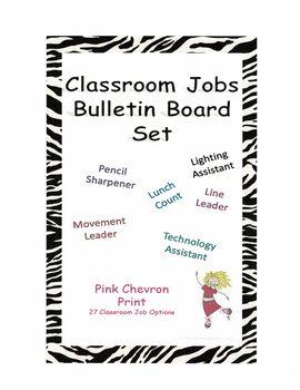 Classroom Jobs Bulletin Board Set - Pink Chevron