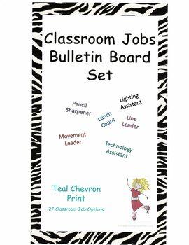 Classroom Jobs Bulletin Board Set - Teal Chevron