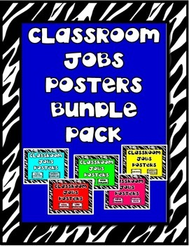 Classroom Jobs Bundle Pack of Black and White Themed Posters