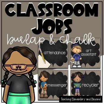 Classroom Jobs {Burlap & Chalk Background} Editable Option