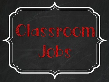 Classroom Jobs - Burlap, Chalkboard, and Red